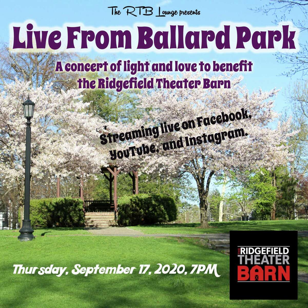 """The Ridgefield Theater Barn is staging """"Live from Ballard Park: A concert of light and love to benefit the Ridgefield Theater Barn"""" Thursday, Sept. 17, at 7 p.m."""