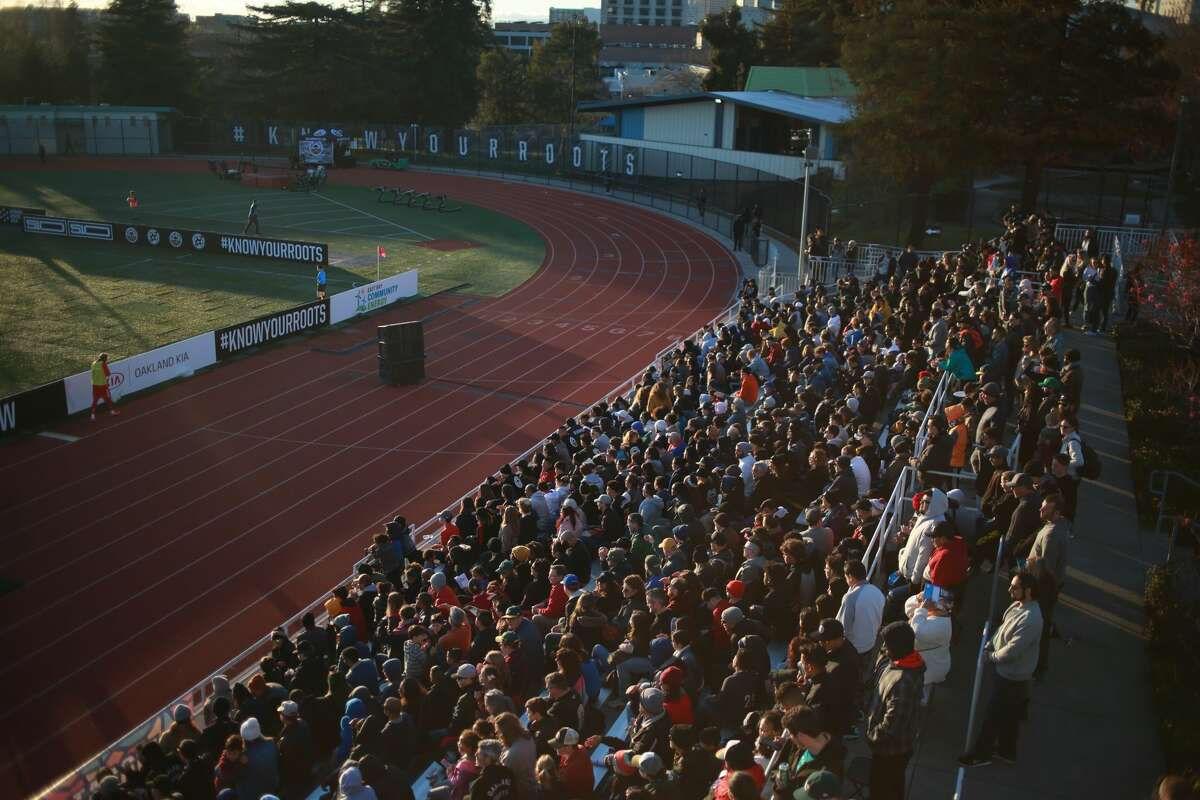 The stands are full at Laney Stadium in Oakland against the Michigan Stars in March.