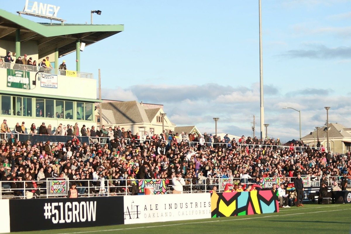 The stands are full for an Oakland Roots game at Laney Stadium in Oakland in March 2020.