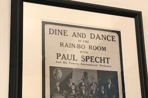 An old poster for dining and dancing with the Paul Specht Orchestra at the Kenmore Hotel from the '40s with dinner deluxe for $1.