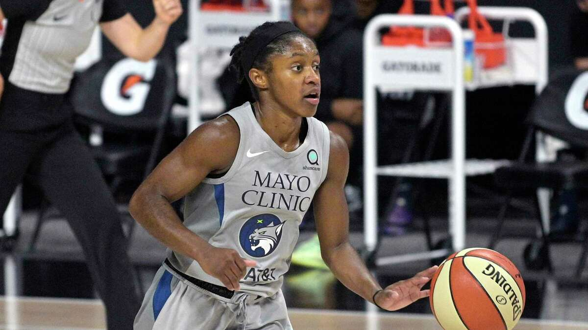 Minnesota Lynx guard Crystal Dangerfield (2) brings the ball up the court during the second half of a WNBA basketball game against the Las Vegas Aces on Sept. 10.