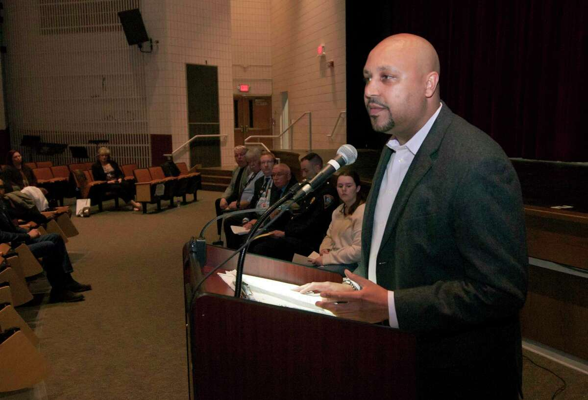 Shelton Police Department's Chief Shawn Sequeira speaks during Shelton High School's Shool Safety Community Forum in Shelton, Conn. on Tuesday Feb 27, 2018. The forum dealt with school safety following Florida shooting. School leaders and Shelton police were on hand to talk about the safety measures the school has undertaken and to hear from families with concerns.