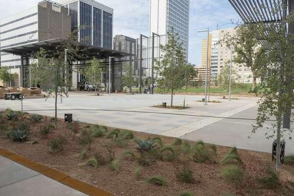 Work continues 09/15/2020 around the rebuilt Centennial Plaza. Tim Fischer/Reporter-Telegram