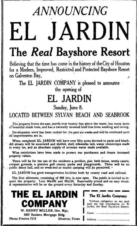 An advertisement for the El Jardin development appeared in the Houston Chronicle on June 1, 1924.