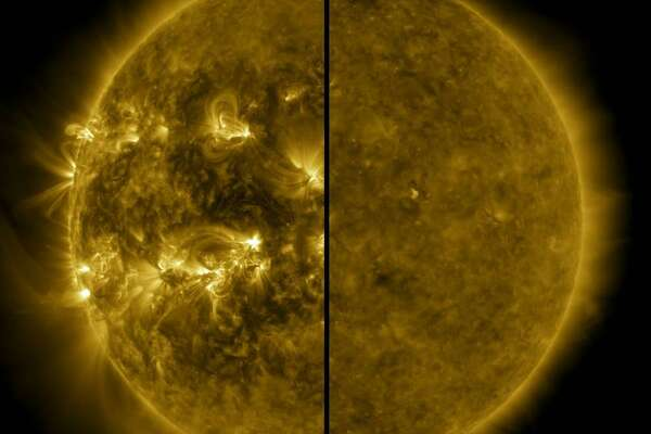 This split image shows the difference between an active Sun during solar maximum (on the left, captured in April 2014) and a quiet Sun during solar minimum (on the right, captured in December 2019). December 2019 marks the beginning of Solar Cycle 25, and the Sun's activity will once again ramp up until solar maximum, predicted for 2025.
