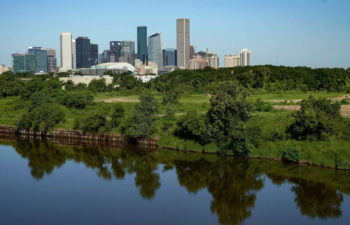 Houston skyline and the Buffalo Bayou.