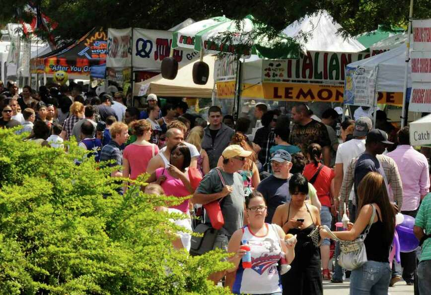 The line of food vendors during the 15th Annual Latin Fest at Washington Park in Albany Saturday, Au