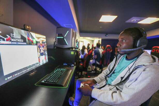 University of Downtown-Houston freshman Franklin Daniels practice his Madden '19 skills May 1, 2019, in Houston. Lone Star College will host an esports tournament as it works on creating a curriculum for a new sports management associate degree. LSC has partnered with CSL Esports to launch an online tournament.