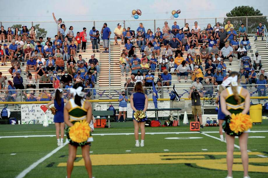 Hamshire-Fannett's fans fill the stadium to cheer on the Longhorns againsnt East Chambers during their match for the Rice Bowl win Friday night in Winnie. Photo taken Friday, September 11, 2020 Kim Brent/The Enterprise Photo: Kim Brent / The Enterprise / BEN