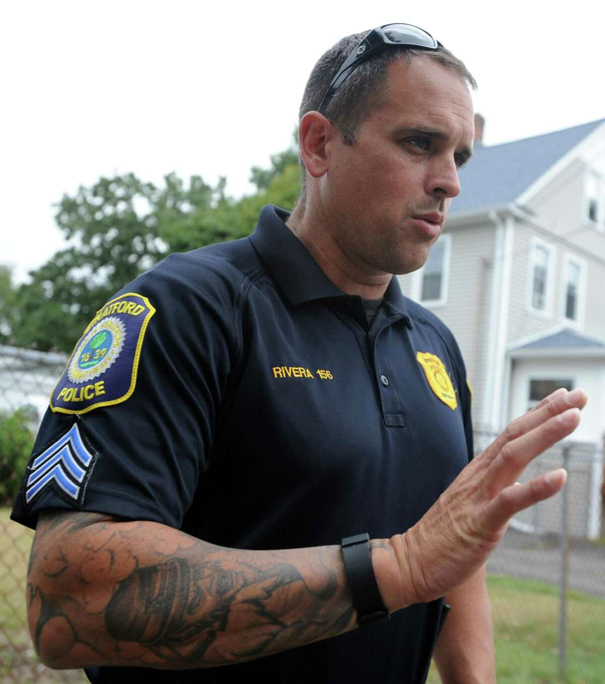 Stratford Police Sgt. Jamie Rivera talks to a reporter in Stratford Friday, Sept. 11, 2015. A town police officer shot a suspect while serving a search warrant at a home at 25 Yarwood St. early Friday morning.