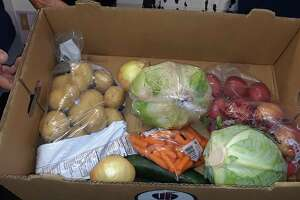 A box of produce at Friendly Hands Food Bank in Torrington. The Farmers to Families food program has provided fresh food to families since May.