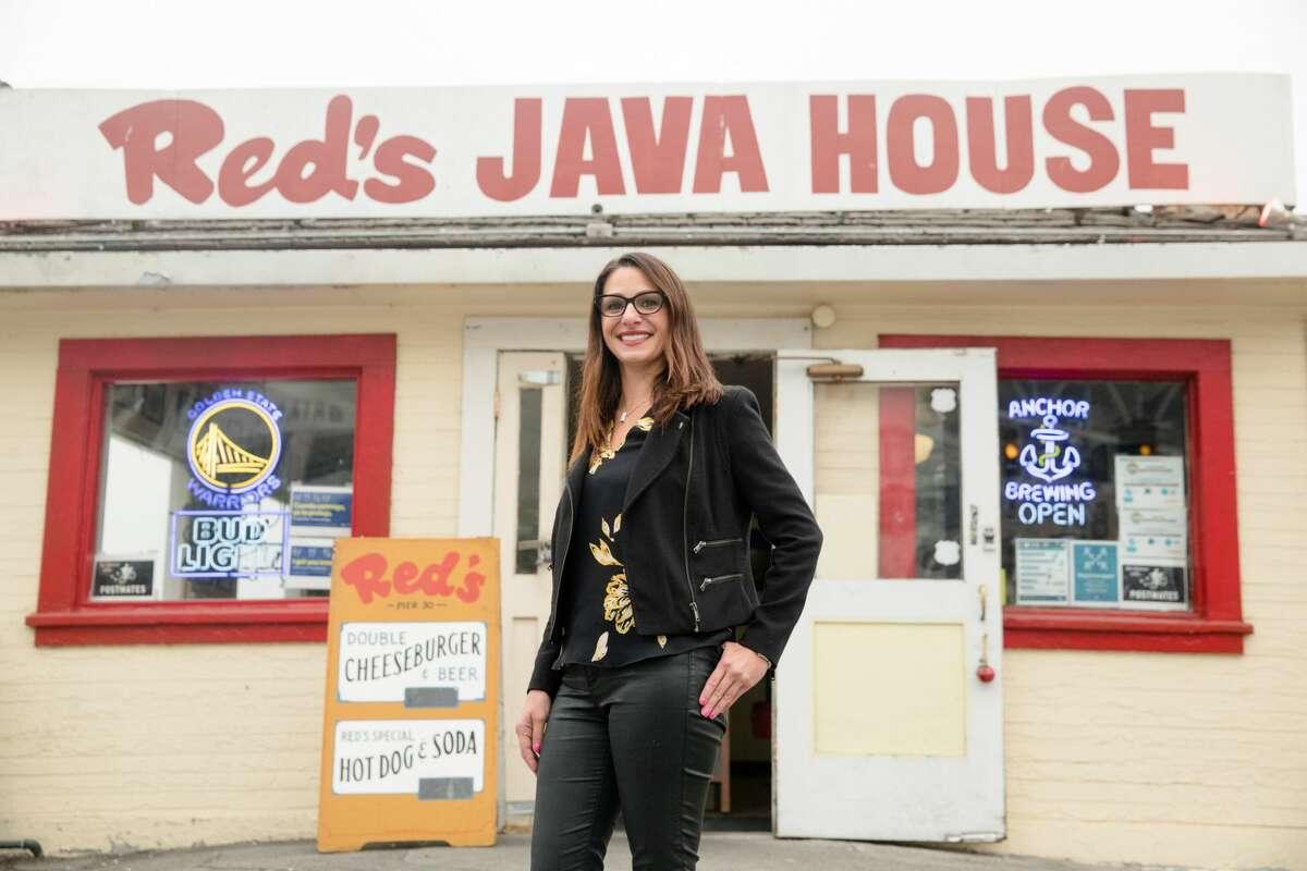 Red's Java House owner Tiffany Pisoni outside her restaurant in San Francisco, California on Sept. 10, 2020.