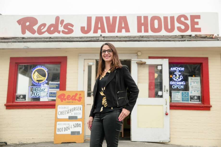 Red's Java House owner Tiffany Pisoni outside her restaurant in San Francisco, California on Sept. 10, 2020. Photo: Douglas Zimmerman/SFGATE / SFGATE