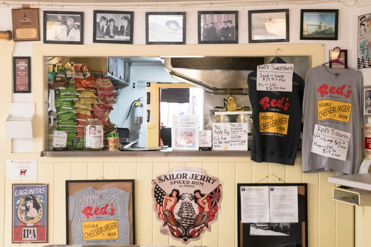 The interior and front counter at Red's Java House in San Francisco, California on Sept. 10, 2020.
