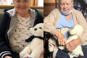 Amy Shimkus, 76, is a resident of the Wesley Community nursing home in SaratogaSprings. Her son Todd Shimkustook the photo at left on March 12, 2020, before visitation closed down during the coronavirus pandemic. The photo at right is Amy in early September 2020. Shimkusbelieves his mother has suffered cognitive and physical declines from the prolonged isolation she has endured during thelockdown.