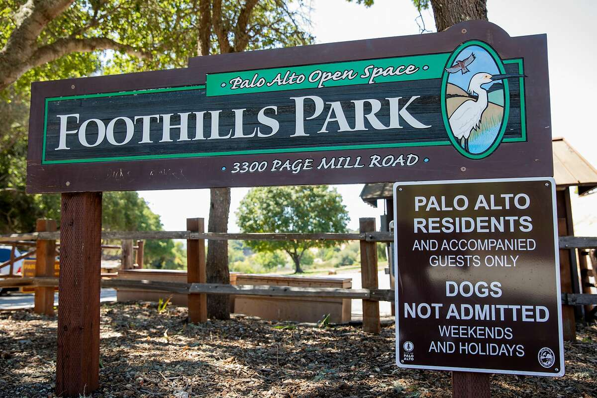 A sign informs visitors to the residents only policy at Foothills Park in Los Altos Hills, Calif. Tuesday, August 11, 2020. Since it opened in 1965, Foothills Park has been restricted to residents, a practice some residents consider discriminatory. The city council finally made some concessions, allowing up to 50 non-residents a day, but activists say it's not enough.