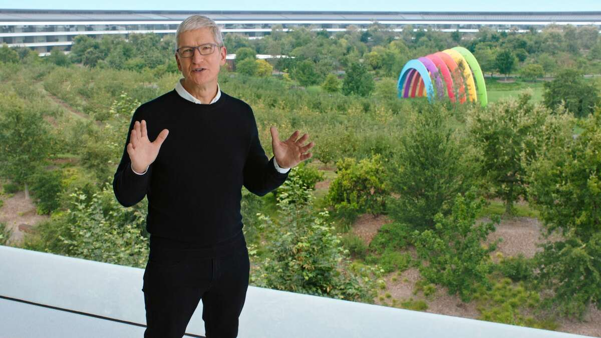 CUPERTINO, CALIFORNIA - SEPTEMBER 15, 2020: In this still image from the keynote video, Apple CEO Tim Cook kicks off a special event at Apple Park in Cupertino, California.