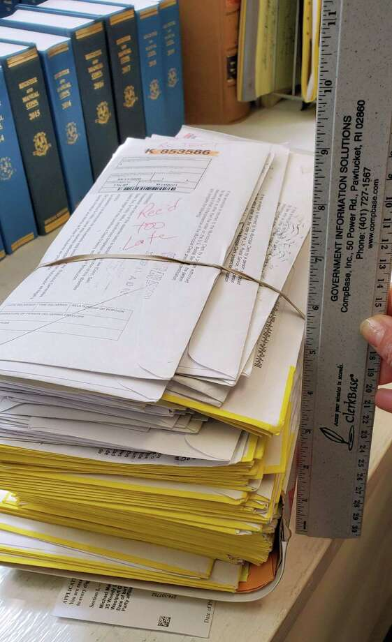 A stack of late ballots from the 2020 primary in Town Clerk Patricia Strauss' office. Photo: Contributed Photo