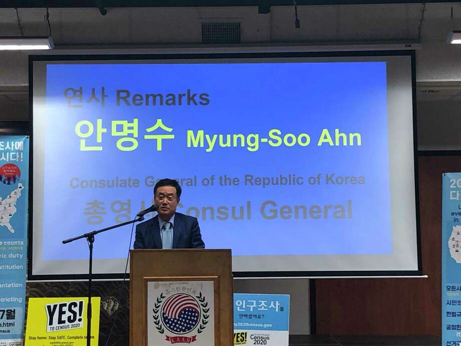 Consul General from the Republic of Korea Myung-Soo Ahn was present at The Korean Community Center's Sept. 15 event, a last push to encourage people to fill out the 2020 Census before it closes on Sept. 30 Photo: Elliott Lapin / Staff Photo