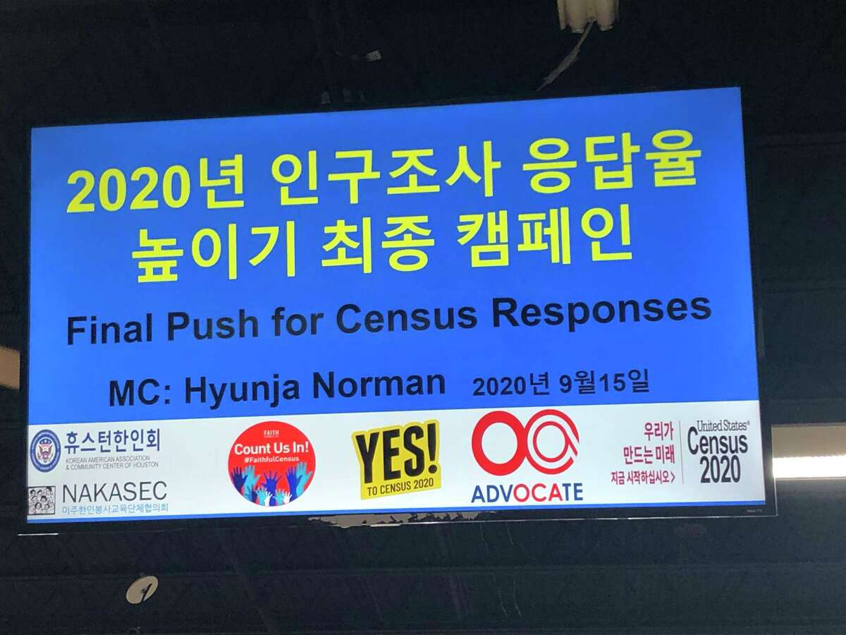 The opening slide of Hyunja Norman's presentation at the Korean Community Center on Sept. 15 as a last push to encourage people to fill out the 2020 Census before it closes on Sept. 30