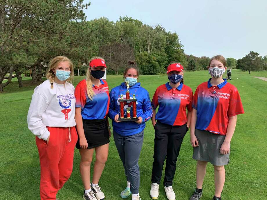 From left, Chippewa Hills's Alyssa Miller, Kerstin Stadtfeld, Hanna Herman, Ryleigh Allen and Felicity Chapman enjoy their trophy from Monday's invitational. (Courtesy photo)