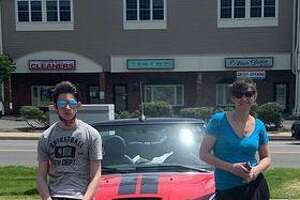Jenna Linn and her son, Daniel, with her MINI Cooper.