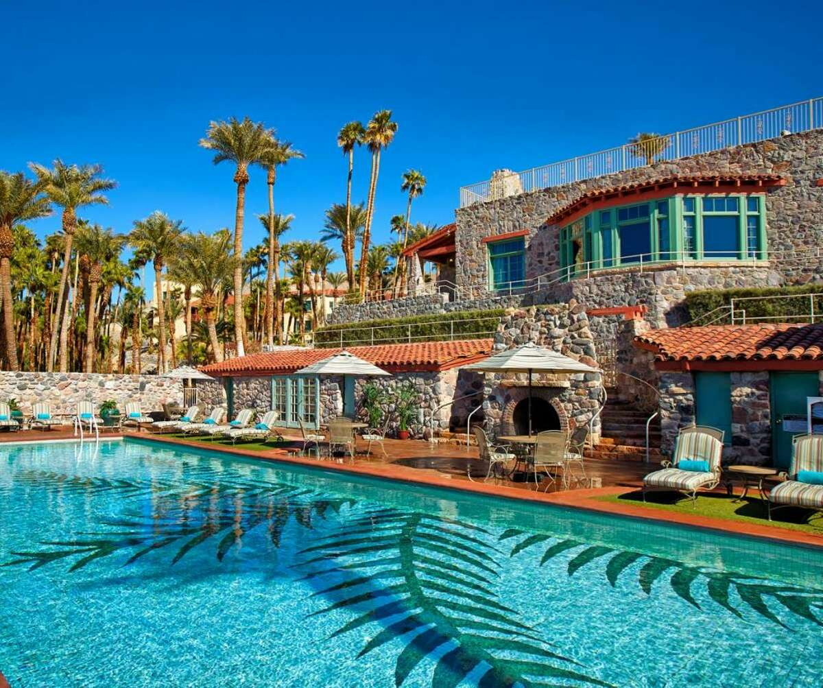 The pool and lodge at The Inn at Death Valley- stay three nights and get a 30% discount