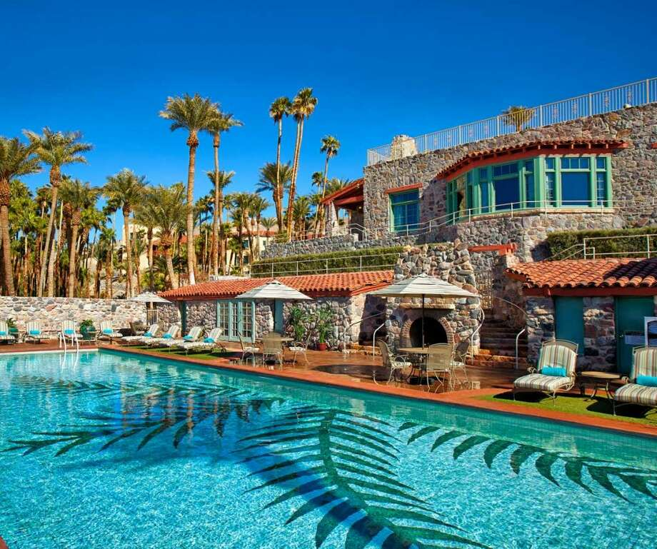 The pool and lodge at The Inn at Death Valley- stay three nights and get a 30% discount Photo: Xanterra