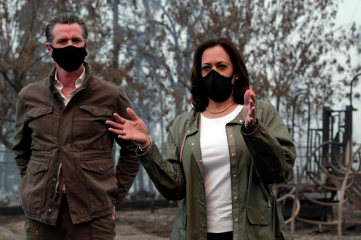 Sen. Kamala Harris, the Democratic vice presidential nominee, met with Gov. Gavin Newsom and CalFire officials to review the devastation of the Creek fire in Pineridge, Calif., on Tuesday, September 15, 2020.