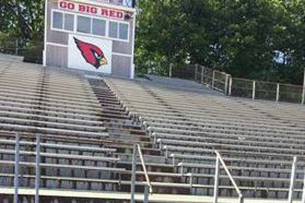 The bleachers are open and ready for the first football game of the season at Cardinal Stadium at Greenwich High School in fall 2019.