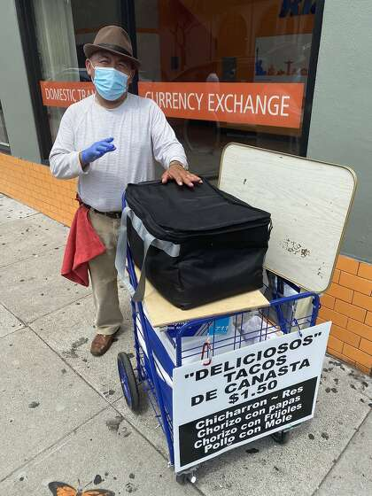 Felipe Reyes launched Tacos de Canasta after becoming unemployed as a cook in S.F. He sells his handmade tacos de canasta, or basket tacos, in the Mission District, from his cooler.