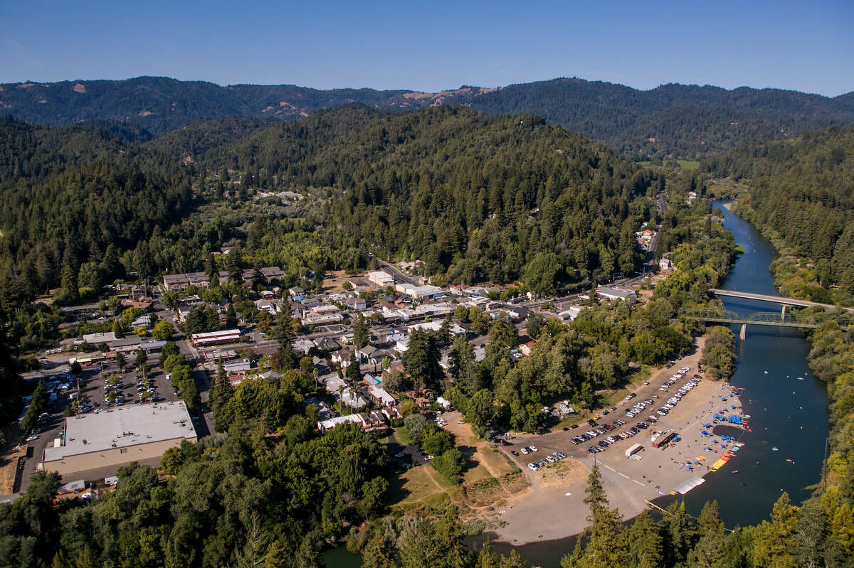 The surrounding community of Guerneville, located along the Russian River, is viewed from the air on August 24, 2014, near Healdsburg, California.