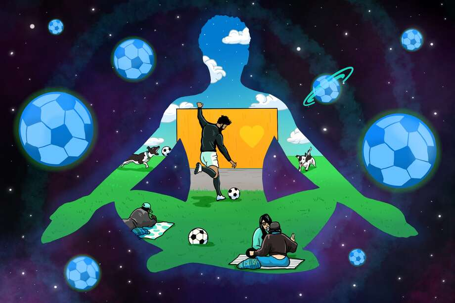 The pandemic pastime that has kept me sane is kicking a soccer ball against a wall. Photo: Illustration: Andy Andersen For SFGATE