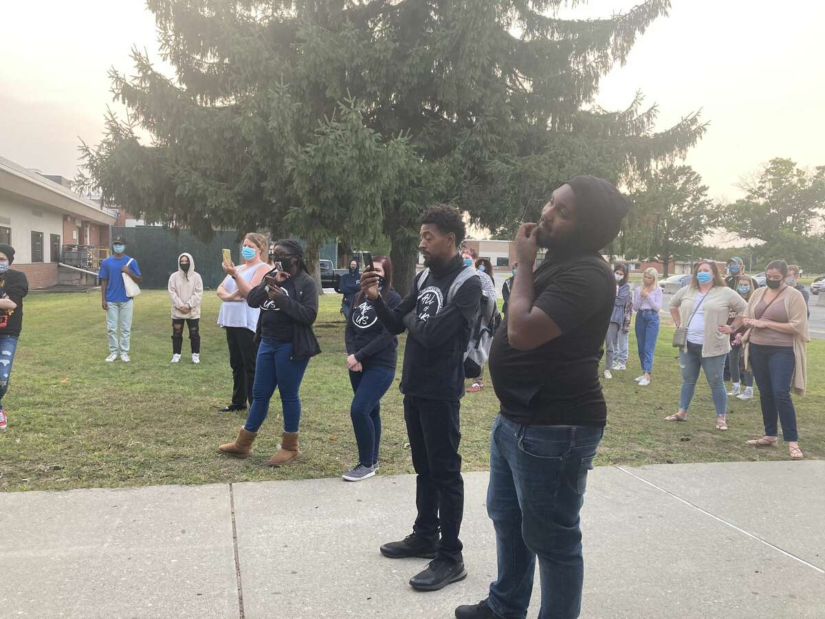 A crowd of about 50 listened to students and alum speak about their frustration with the Shenendehowa School board and administration for not wanting to ban the Confederate flag.