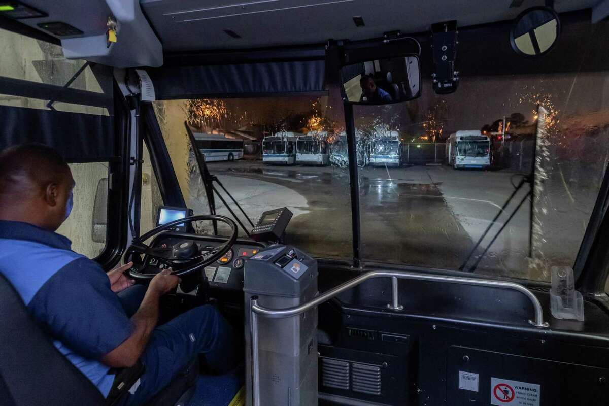 Beaumont Municipal Transit crew members have adjusted their nightly routine to more thoroughly clean and sanitize the buses at the depot each night. Photo made on March 25, 2020. Fran Ruchalski/The Enterprise