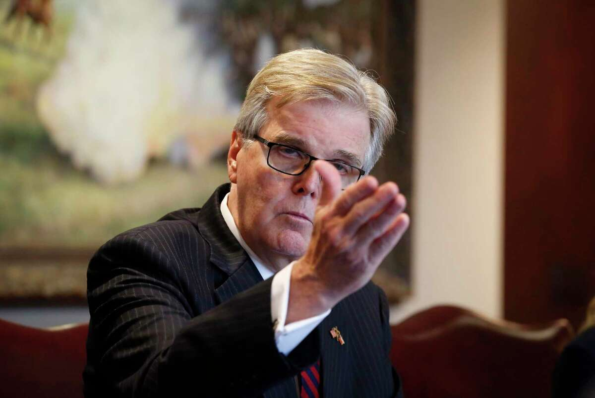 Texas Lt. Gov. Dan Patrick attends a business roundtable with local business owners to praise President Donald Tuesday, Sept. 15, 2020, in Houston.