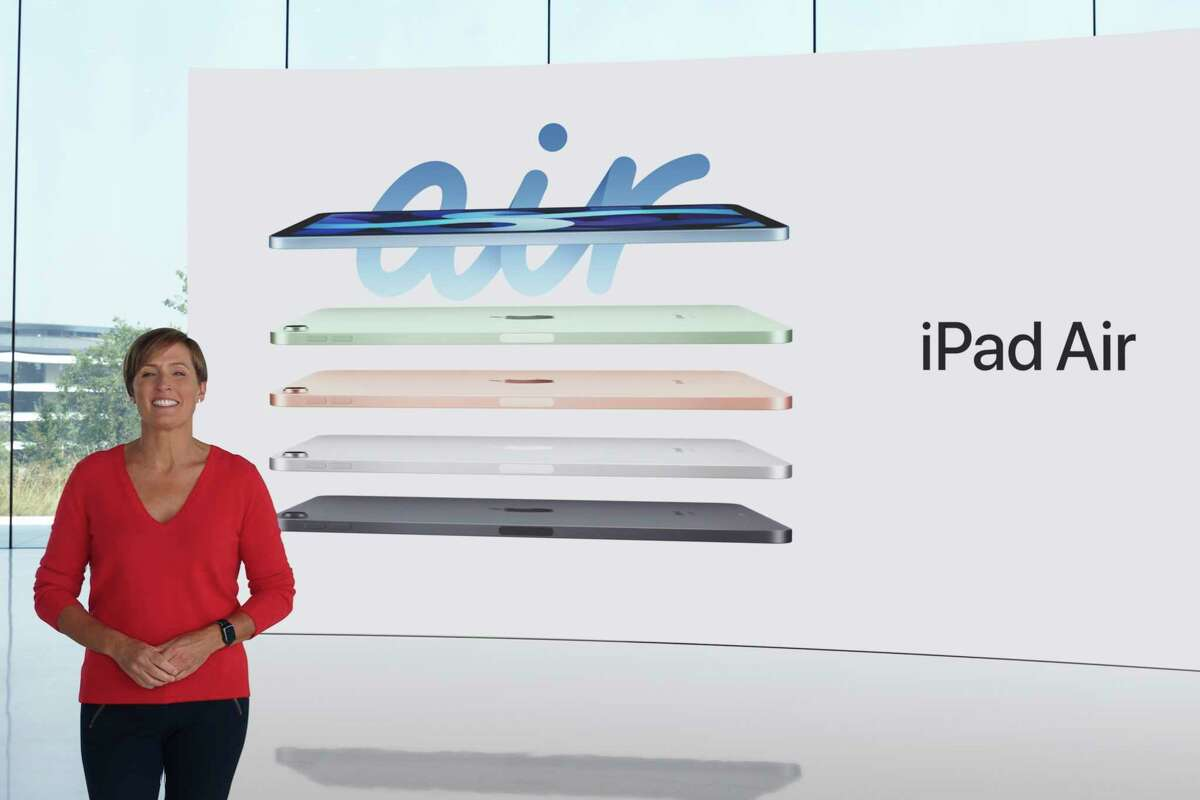 In this still image provided by Apple from the keynote video of a special event at Apple Park in Cupertino, Calif., Laura Legros, Apple's vice president of hardware engineering, unveils the all-new iPad Air on Tuesday, Sept. 15, 2020. Apple took the wraps off a new discount watch in addition to a new high-end model, a next-generation iPad and a couple new subscription services during a virtual event held Tuesday while the company puts the finishing touches on its next line-up of iPhones, its most popular and profitable device. (Apple via AP)