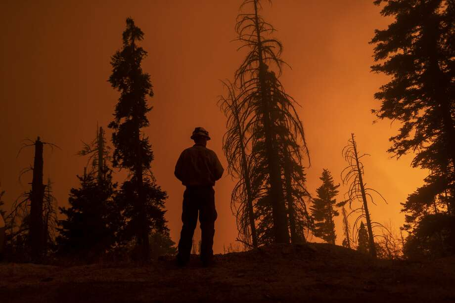A firefighter keeps watch as flames advance along the Western Divide Highway during the SQF Complex Fire on September 14, 2020 near Camp Nelson, California. The SQF Complex Fire has grown to more than 90,000 acres and burned scores of homes. California wildfires that have already incinerated a record 2.3 million acres this year and are expected to continue till December. Photo: David McNew/Getty Images / 2020 Getty Images
