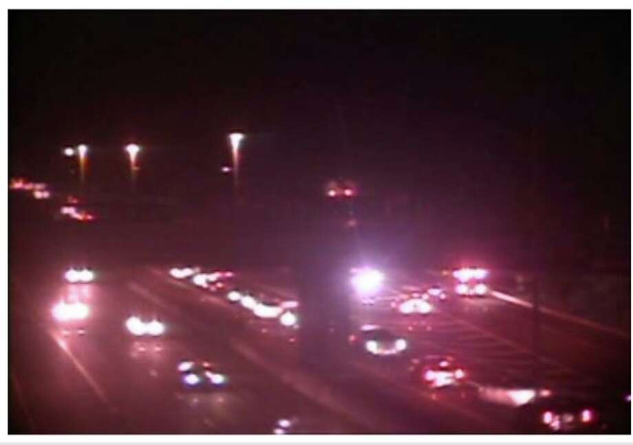 A motor vehicle fire closed the right lane northbound on I-95 and the Exit 54 off ramp in Branford Tuesday, Sept. 15 2020 Photo: Contributed /DOT