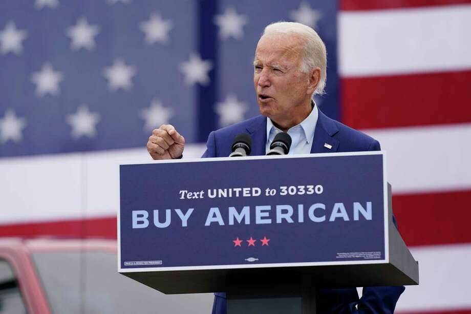 Democratic presidential candidate former Vice President Joe Biden speaks at a campaign event on manufacturing and buying American-made products at UAW Region 1 headquarters in Warren, Mich., Wednesday, Sept. 9, 2020. (AP Photo/Patrick Semansky) Photo: Patrick Semansky, STF / Associated Press / Copyright 2020 The Associated Press. All rights reserved.