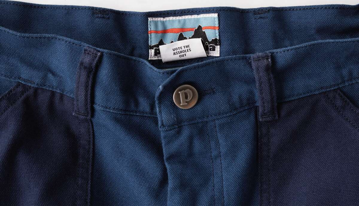 """Patagonia added the message """"Vote the as-holes out"""" to the tags on its 2020 Men's and Women's Road to Regenerative Organic Stand-Up Shorts."""