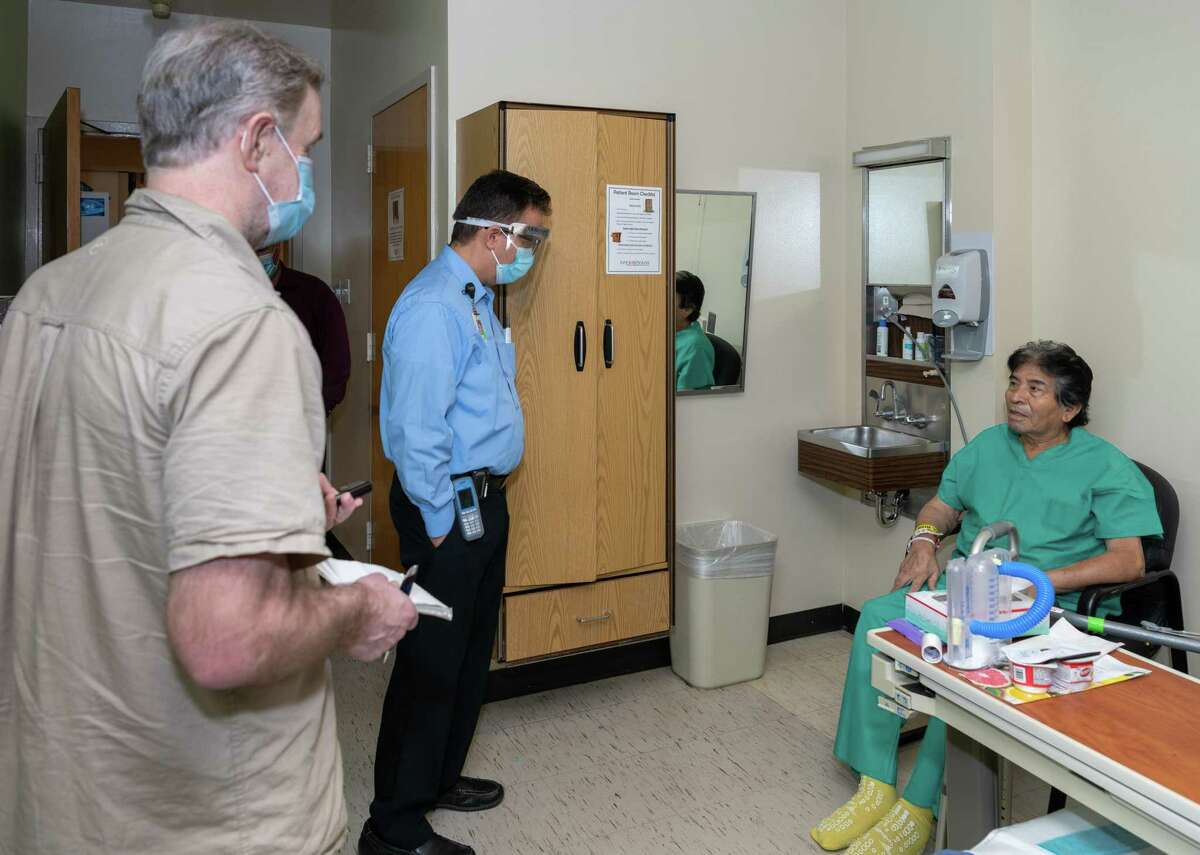 Francisco Medellin after having the first double lung transplant in Texas talks to a Houston Chronicle reporter through a hospital provided interpreter, Carlos Guerra on Thursday, September 10, 2020 in Houston Texas.