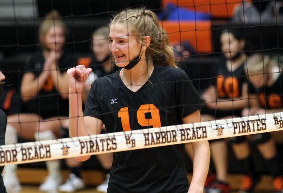 The Ubly varsity volleyball team traveled to Harbor Beach on Tuesday evening. The Bearcats swept the Pirates, 25-14, 25-16, 25-12. Photo: Mark Birdsall/Huron Daily Tribune