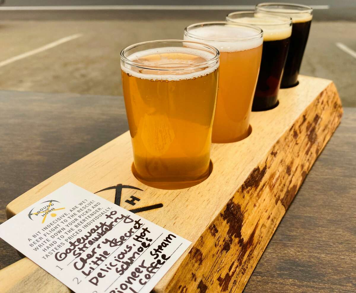 A flight of beer at Around the Horn Brewing Company.