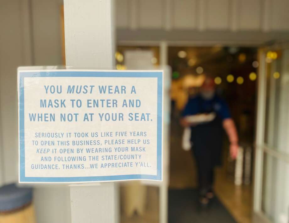 Masks are not optional for those venturing inside Around the Horn Brewing Company in Groveland. Photo: Ashley Harrell
