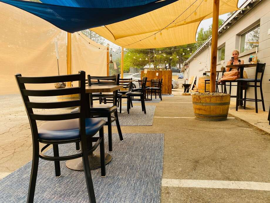 The cozy side patio at Around the Horn Brewing Company. Photo: Ashley Harrell