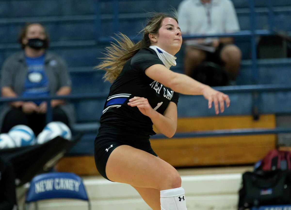 In this file photo, New Caney setter Rylee Quinn (1) returns the ball during the first set of a non-district volleyball match against Willis at New Caney High School, Tuesday, Sept. 15, 2020.