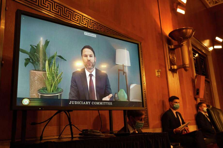 Donald Harrison, President of Global Partnerships and Corporate Development for Google, testifies via video conference during a Judiciary Subcommittee on Antitrust, Competition Policy and Consumer rights hearing to examine whether Google harmed competition in online advertising, Tuesday, Sept. 15, 2020, on Capitol Hill in Washington. (AP Photo/Jacquelyn Martin) Photo: Jacquelyn Martin / Copyright 2020 The Associated Press. All rights reserved.