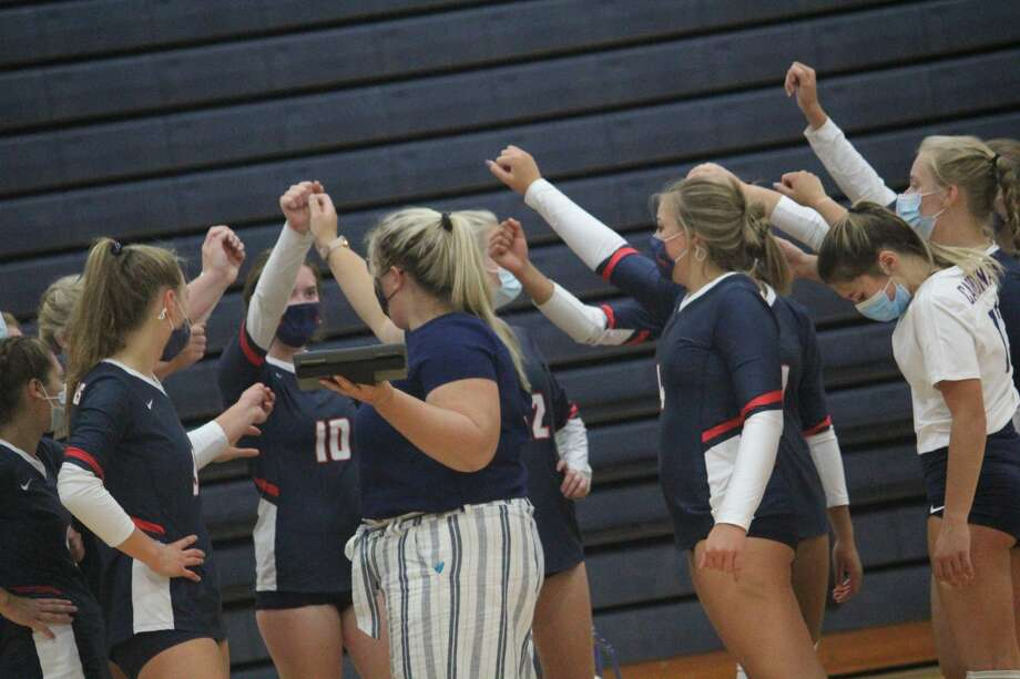 Newaygo spoiled Big Rapids volleyballer home opener with a 3-0 win on Tuesday. Photo: John Raffel
