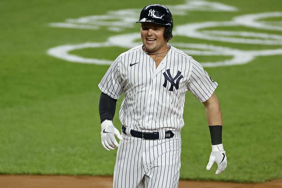 New York Yankees' Luke Voit celebrates hitting a three-run home run during the second inning of a baseball game against the Toronto Blue Jays on Tuesday, Sept. 15, 2020, in New York. (AP Photo/Adam Hunger) Photo: Adam Hunger / Associated Press